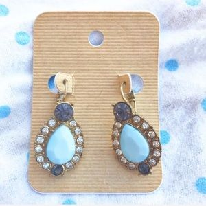 Rhinestone blue gold earrings NWT